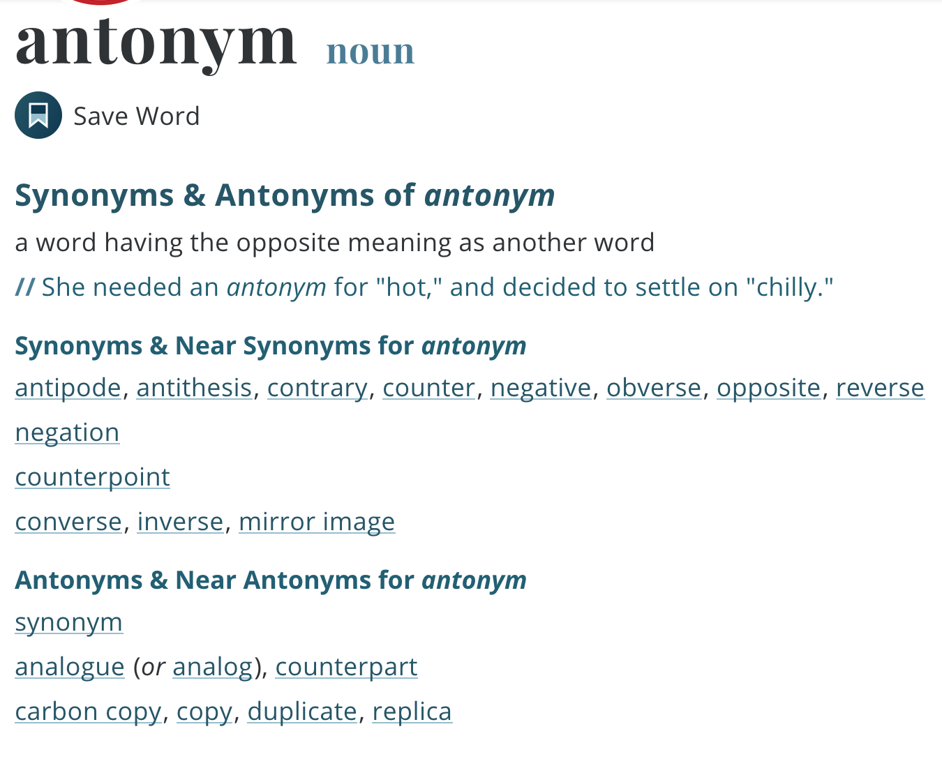 A screengrab of the thesaurus entry for antonym