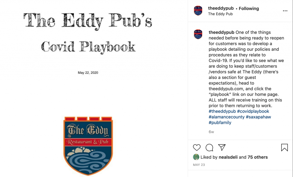 The Eddy Pub's Instagram post on COVID safety