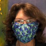 The Word Factory's Margot Lester in a mask by Geek Chic Clothing.