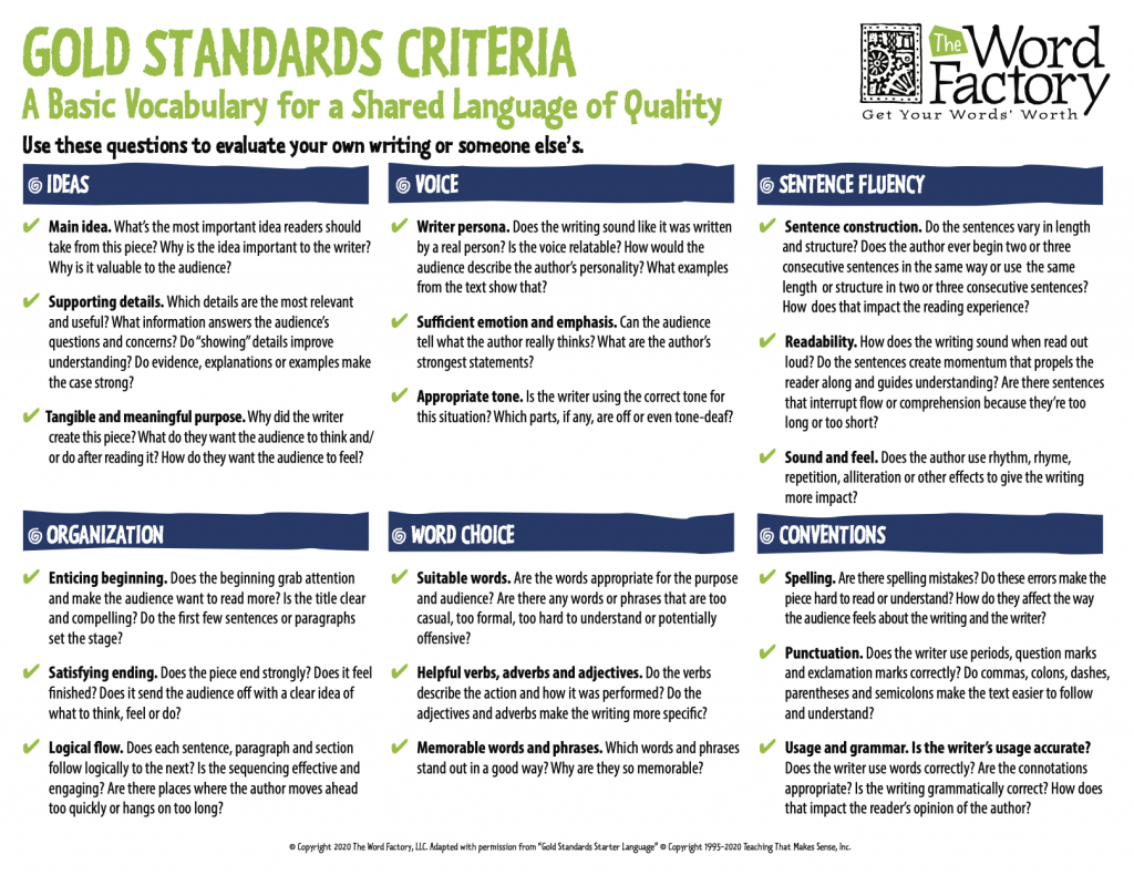 A checklist for using the 6 Traits to evaluate the quality of your writing or someone else's.