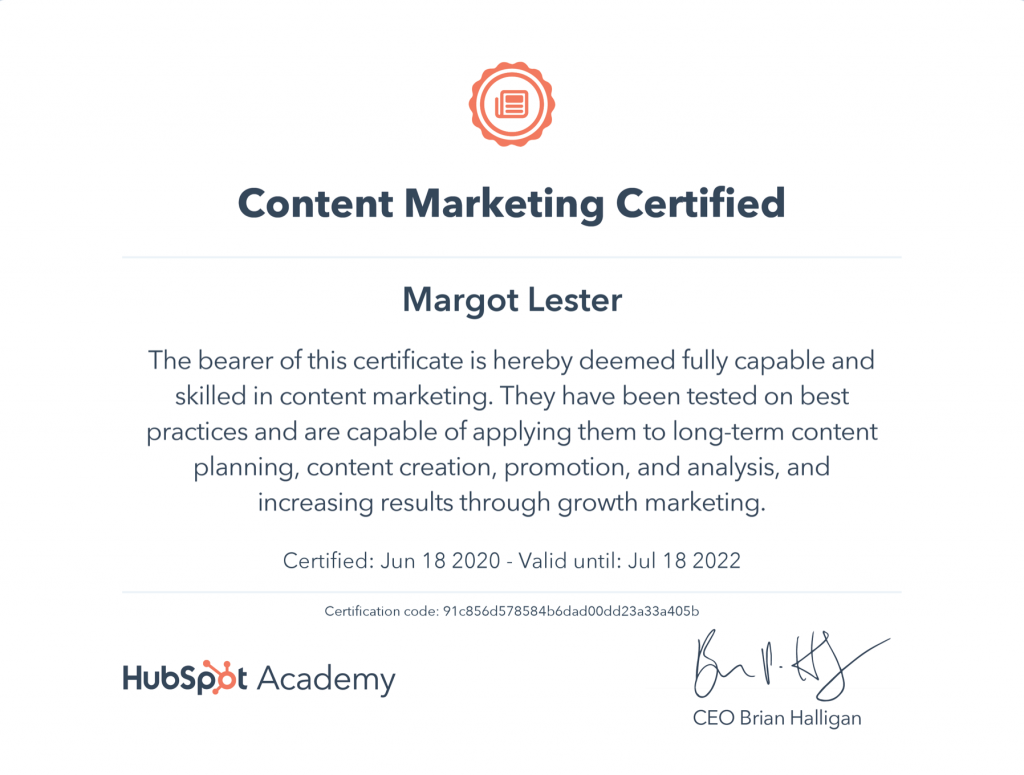 Margot Lester's Hubspot content marketing certification
