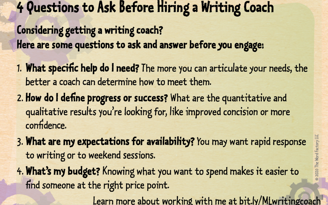 4 questions to ask before hiring a writing coach