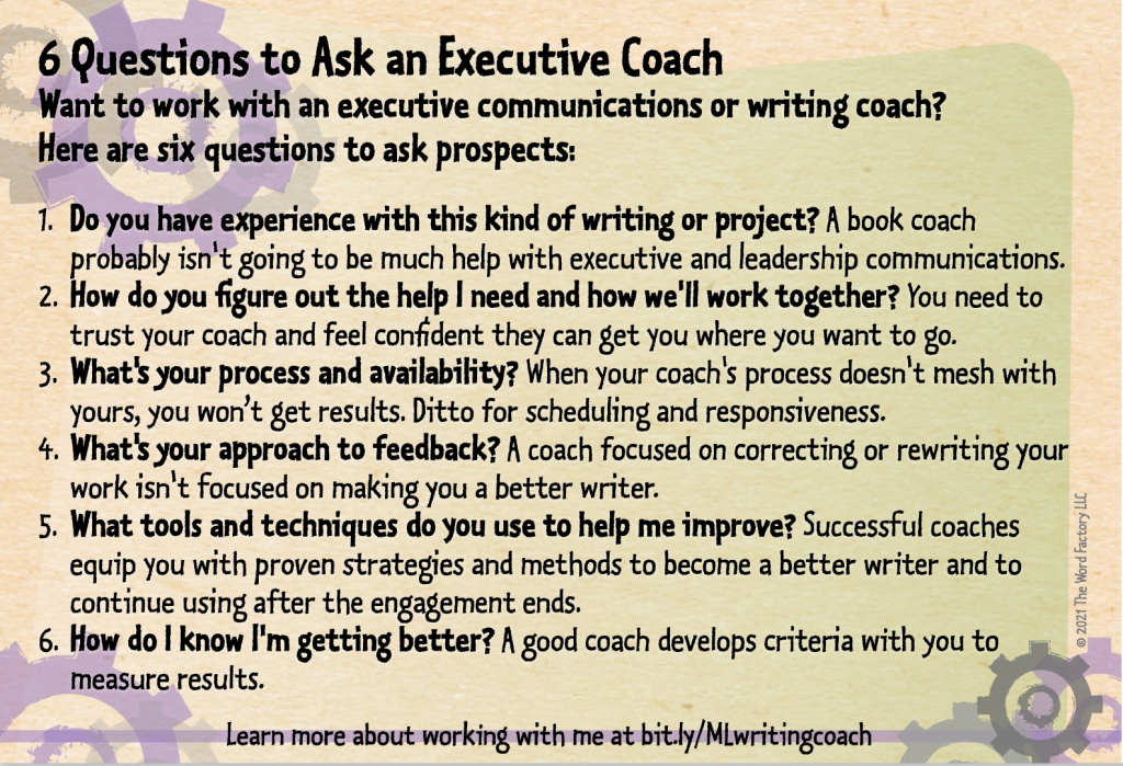 Six questions to ask an executive coach - Margot Lester writing coach