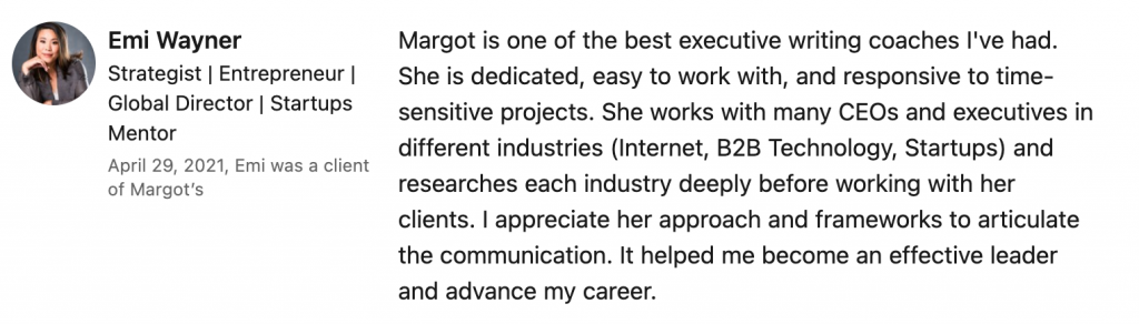 A client talks about the value of working with writing coach Margot Lester.