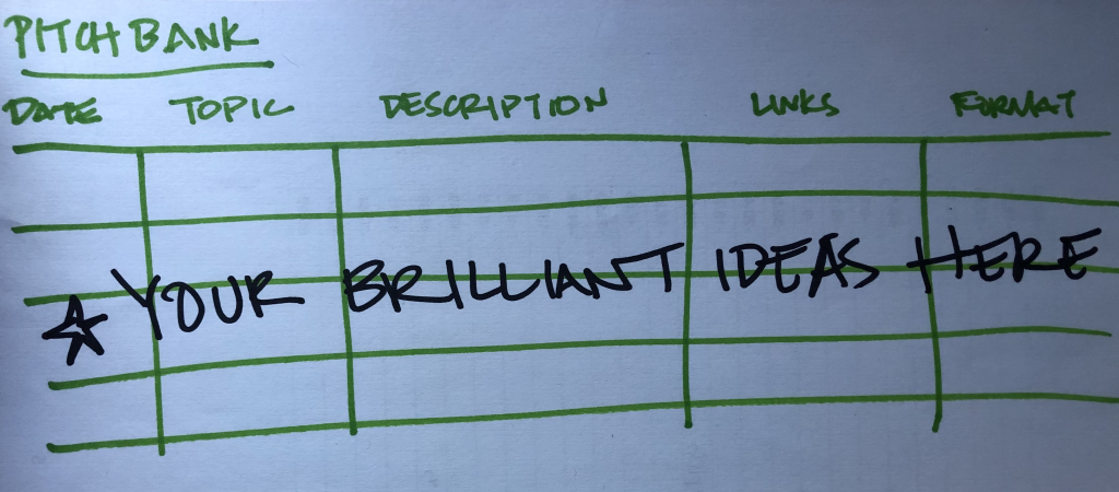 A hand-drawn example of a pitchbank with green and black letters on Margot Lester's Word Factory blog.
